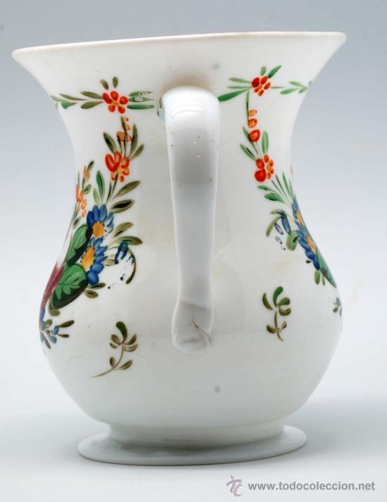 Antigüedades: Jarra en opalina de la granja con decoración floral esmaltada S XIX - Foto 4 - 34923591