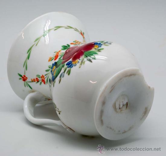 Antigüedades: Jarra en opalina de la granja con decoración floral esmaltada S XIX - Foto 5 - 34923591