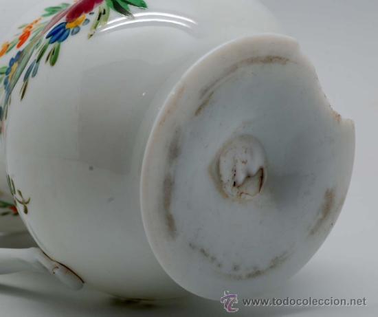 Antigüedades: Jarra en opalina de la granja con decoración floral esmaltada S XIX - Foto 6 - 34923591