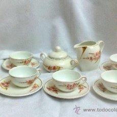 Antigüedades: JUEGO DE CAFÉ, EN LOZA DECORADA. ANTIGUO.. Lote 34964649
