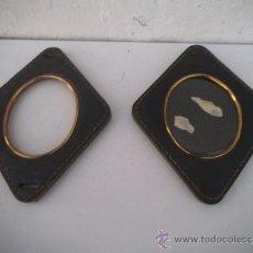 Antigüedades: 2 PORTA FOTOS RONBO PIEL. Lote 34978076