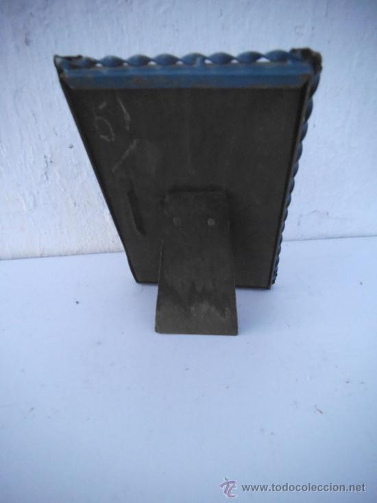 Antigüedades: porta fotos metal azul - Foto 2 - 34978127