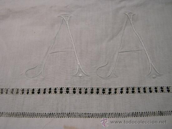 antigua cortina de lino con iniciales aa antigedades hogar y decoracin cortinas antiguas - Cortinas Lino