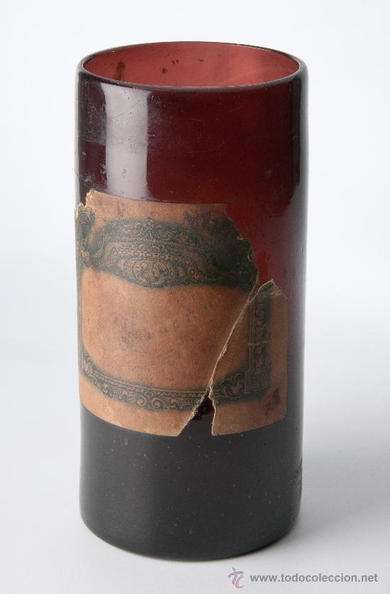 BOTE DE FARMACIA EN VIDRIO DE COLOR AMBAR (Antigüedades - Cristal y Vidrio - Farmacia )