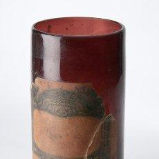 Antigüedades: BOTE DE FARMACIA EN VIDRIO DE COLOR AMBAR. Lote 34990840
