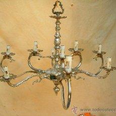 Antigüedades: LAMPARA DE TECHO CON 9 LUCES EN METAL. Lote 35017740