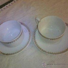 Antigüedades: DOS TAZAS Y DOS PLATOS CAFÉ . I T .SANTANDER. Lote 35055323