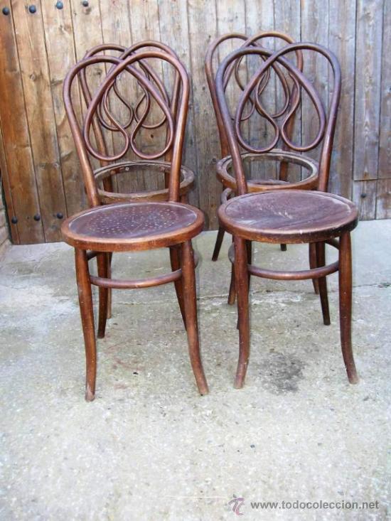 Lote 4 sillas estilo thonet modernistas para re comprar - Restaurar sillas antiguas ...