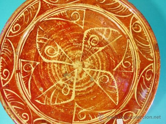 Antigüedades: GRAN PLATO EN CERÁMICA DE REFLEJO METÁLICO. MANISES, VALENCIA. SIGLO XVII. - Foto 2 - 35172851