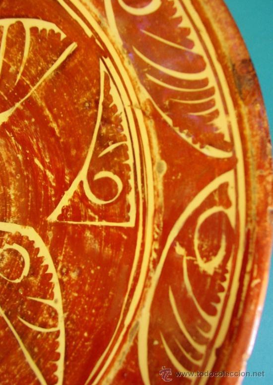 Antigüedades: GRAN PLATO EN CERÁMICA DE REFLEJO METÁLICO. MANISES, VALENCIA. SIGLO XVII. - Foto 3 - 35172851