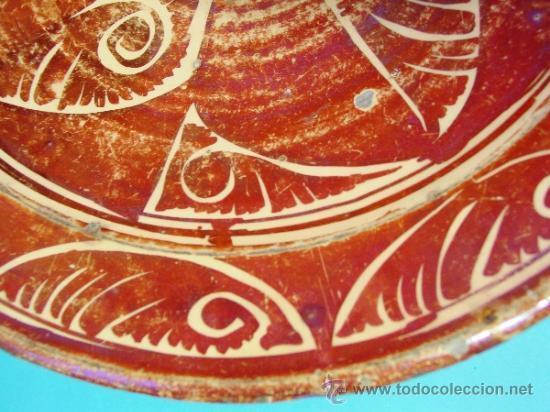 Antigüedades: GRAN PLATO EN CERÁMICA DE REFLEJO METÁLICO. MANISES, VALENCIA. SIGLO XVII. - Foto 5 - 35172851