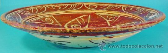 Antigüedades: GRAN PLATO EN CERÁMICA DE REFLEJO METÁLICO. MANISES, VALENCIA. SIGLO XVII. - Foto 10 - 35172851