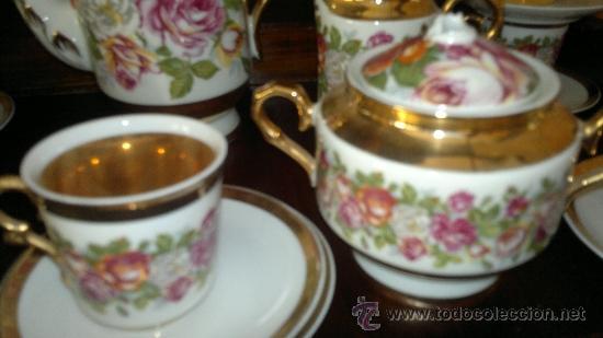 Antigüedades: Juego de cafe antiguo con motivos florales y detalles dorados - Foto 2 - 100385758