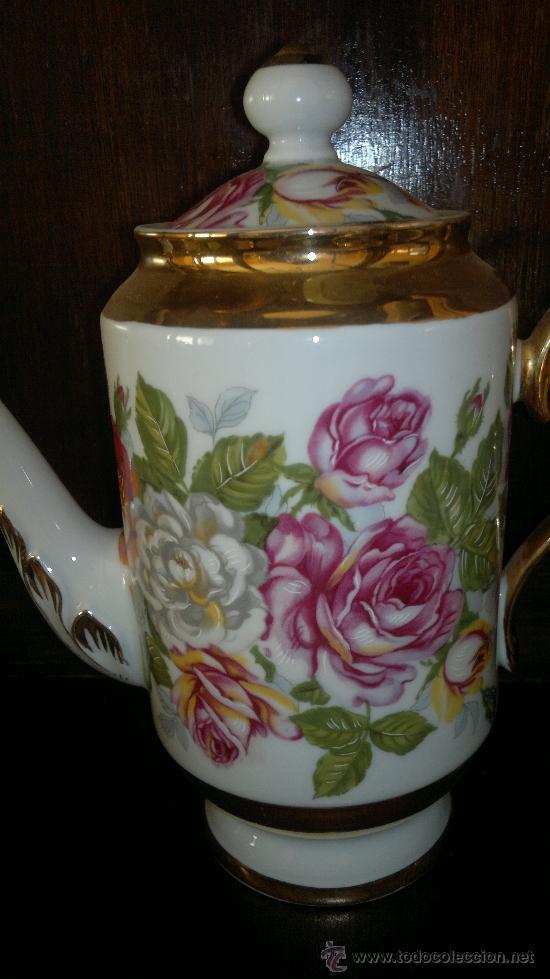 Antigüedades: Juego de cafe antiguo con motivos florales y detalles dorados - Foto 3 - 100385758