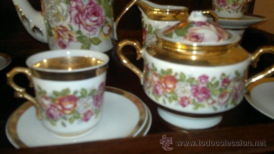 Antigüedades: Juego de cafe antiguo con motivos florales y detalles dorados - Foto 4 - 100385758