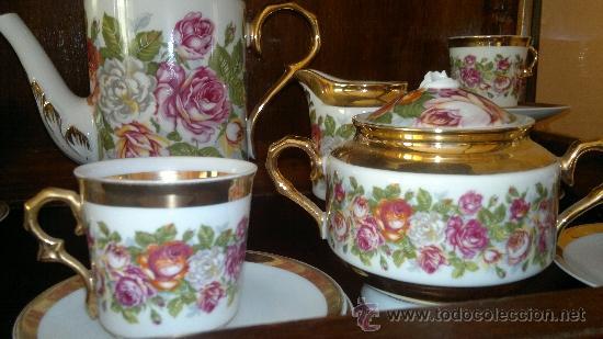 Antigüedades: Juego de cafe antiguo con motivos florales y detalles dorados - Foto 5 - 100385758