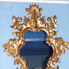 Antigüedades: PRECIOSA CORNUCOPIA CON ESPEJO DE MADERA POLICROMADA EN ORO FINO. Lote 35169197