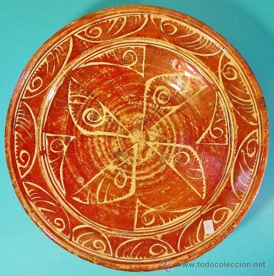 GRAN PLATO EN CERÁMICA DE REFLEJO METÁLICO. MANISES, VALENCIA. SIGLO XVII. (Antigüedades - Porcelanas y Cerámicas - Manises)
