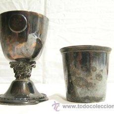 Antigüedades: PEQUEÑO CÁLIZ Y VASO METAL OSCURO - FINALES S.XIX - PRINCIPIOS S. XX. Lote 45085100