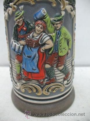 Antigüedades: Preciosa jarra de cerámica Des Gastes Spab - Foto 3 - 35172343
