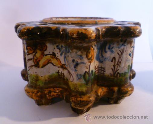 Antigüedades: Tintero ceramica de Talavera. S. XIX-XX - Foto 2 - 35191365