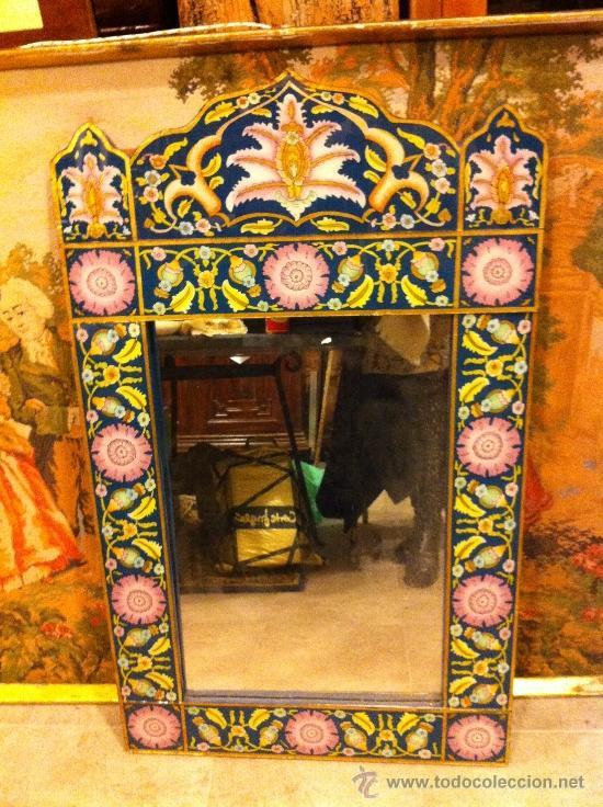GRAN ESPEJO INDIO PINTADO A MANO 1 M (Antigüedades - Muebles Antiguos - Espejos Antiguos)