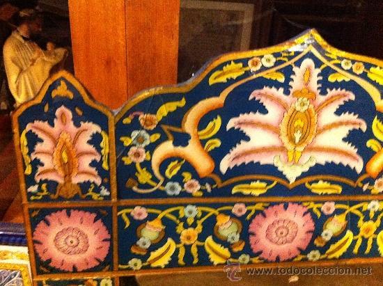 Antigüedades: gran espejo indio pintado a mano 1 m - Foto 2 - 115002399