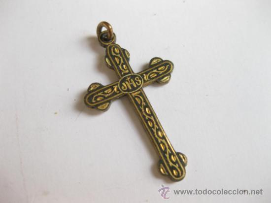 CRUZ ANTIGUA DE COLGANTE DE ARTE DAMASQUINADO (Antigüedades - Religiosas - Cruces Antiguas)