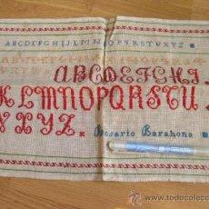 Antigüedades: ANTIGUO PUNTO DE CRUZ CON ABECEDARIO. Lote 35303647
