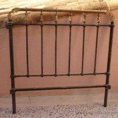 Antigüedades: CABECERO DE CAMA EN HIERRO Y BRONCE. Lote 35241799