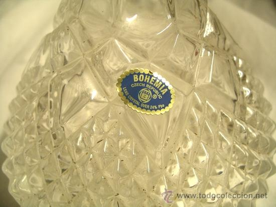 Antigüedades: Licorera tallada cristal de Bohemia, a estrenar. Med. 30 x 14 cm - Foto 3 - 35299964