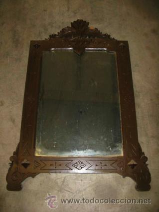 Espejo de pared con marco de madera pintado de comprar - Espejos antiguos de pared ...