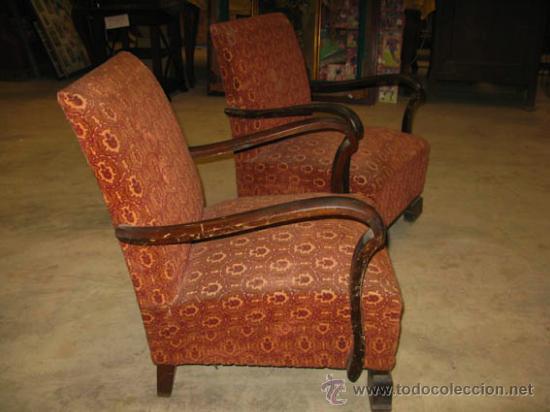 Conjunto de 2 sillones con brazos de madera y t comprar - Sillones de madera antiguos ...