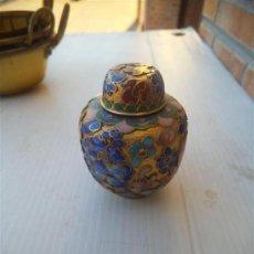 Antigüedades: MINI JARRON METAL ESMALTADO. Lote 35341546