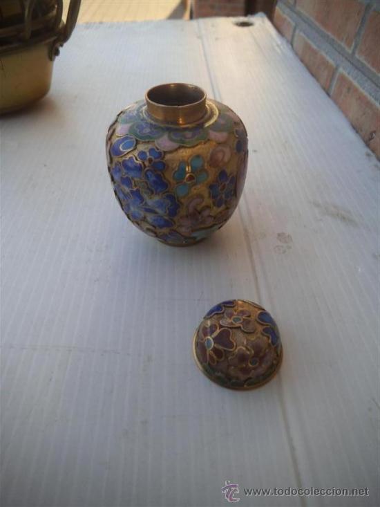 Antigüedades: mini jarron metal esmaltado - Foto 2 - 35341546