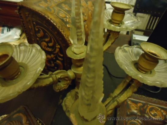 Antigüedades: preciosa pareja de candelabros 3 brazos metal y cristal tallado, total 30x29 cm ideal para virgen - Foto 2 - 35350571