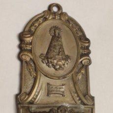 Antigüedades: BENDITERA DE HOJALATA Y CRISTAL - VIRGEN DE LOS DESAMPARADOS. Lote 35367032