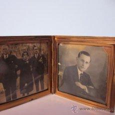 Antigüedades: ANTIGUO PORTAFOTOS CON DOS FOTOS DE BOLSILLO DOBLE METAL CON PEQUEÑAS PIEDRAS INCRUSTADAS. Lote 35477512