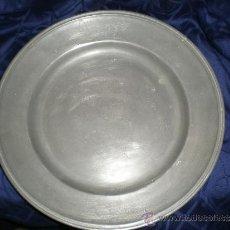 Antigüedades: GRAN PLATO DE ESTAÑO S XVIII. Lote 35454768