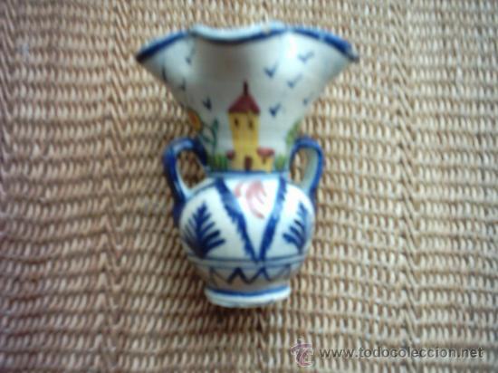 ANTIGUA JARRA CON CUATRO BOCAS DE CERÁMICA. PAISAJES PINTADOS EN 4 COLORES. 10,5 CM. (Antigüedades - Porcelanas y Cerámicas - Otras)