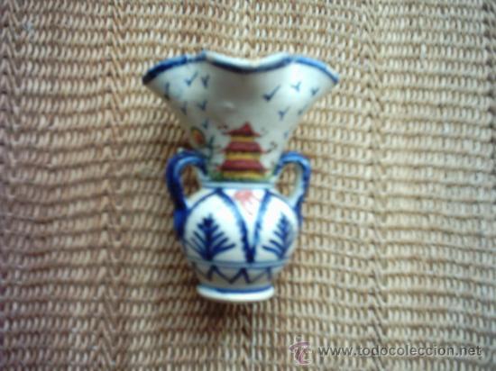 Antigüedades: ANTIGUA JARRA CON CUATRO BOCAS DE CERÁMICA. PAISAJES PINTADOS EN 4 COLORES. 10,5 Cm. - Foto 2 - 35455832
