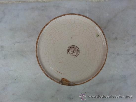 Antigüedades: Antigua y bonita maceta con marca La Cartuja Sevilla Pickman - Foto 5 - 35486384