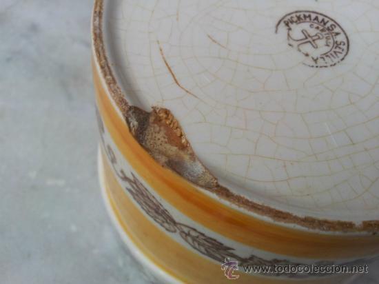 Antigüedades: Antigua y bonita maceta con marca La Cartuja Sevilla Pickman - Foto 6 - 35486384