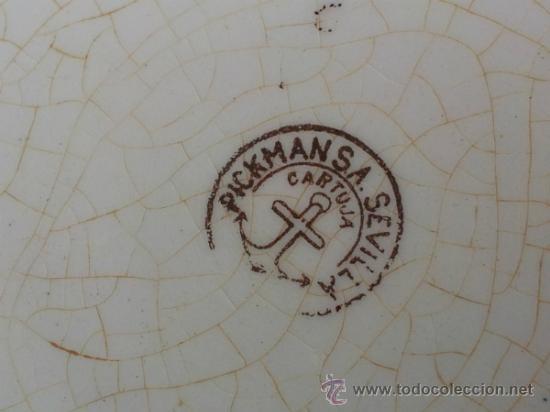 Antigüedades: Antigua y bonita maceta con marca La Cartuja Sevilla Pickman - Foto 7 - 35486384