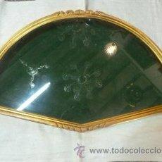 Antigüedades: ABANIQUERA DE MADERA EN PAN DE ORO. Lote 48100206