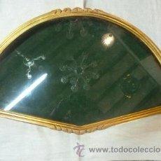 Antigüedades: ABANIQUERA DE MADERA EN PAN DE ORO. Lote 42137845