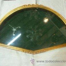 Antigüedades: ABANIQUERA DE MADERA EN PAN DE ORO. Lote 35502856
