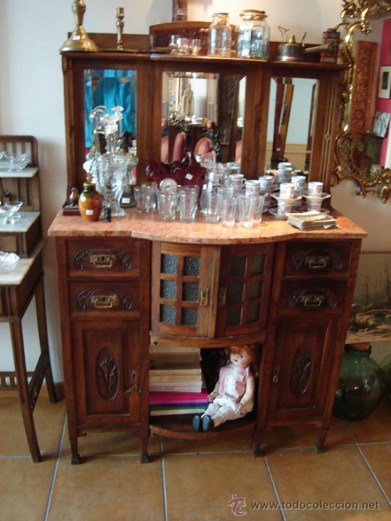 Aparador Extensivel Kane ~ vitrina aparador alacena con mármol y espejo Comprar Vitrinas Antiguas en todocoleccion 26897743