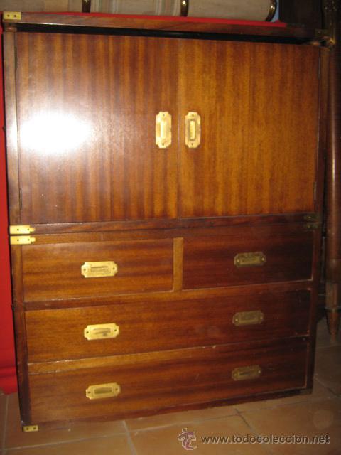 Mueble ingl s de barco en madera de caoba con a comprar - Antiguedades de barcos ...