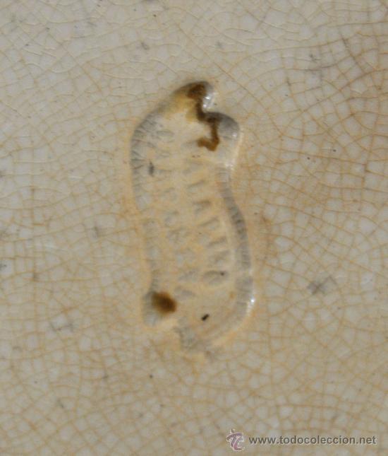 Antigüedades: GRAN FUENTE EN CERÁMICA DE CARTAGENA CON VARIOS SELLOS. SIGLO XIX. 36 CM. DIÁMETRO - Foto 3 - 36018179